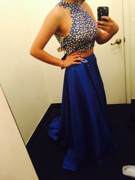 high neck Long Elegant Royal Blue Beaded Two Piece Prom party gown 2018 vestido de noiva robe de soiree bridesmaid dresses in Bridesmaid Dresses from Weddings Events
