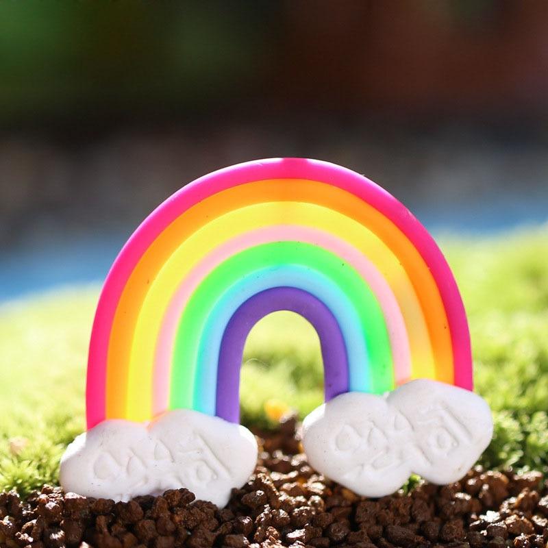 Jardin féerique Miniature arc-en-ciel, accessoire de décoration pour maison, Mini artisanat, Micro décor de paysage