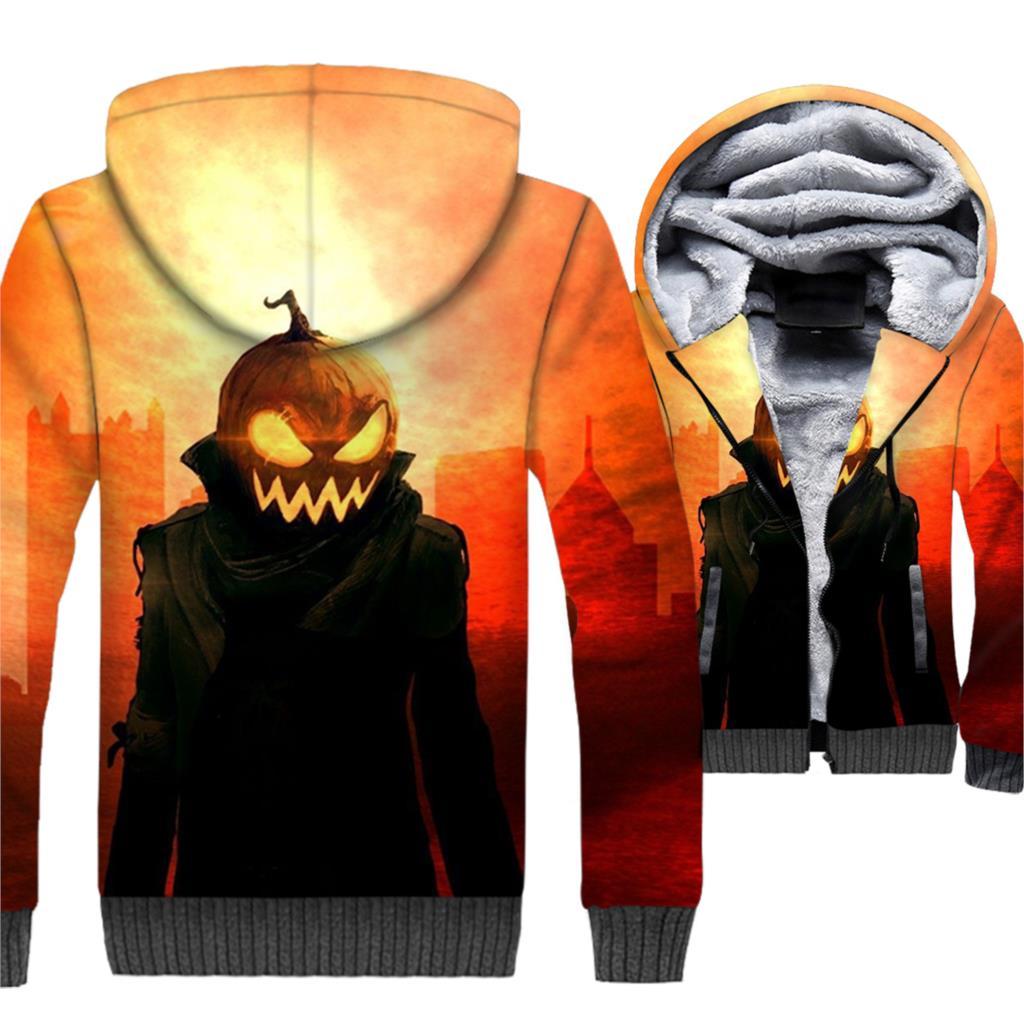 Halloween Pumpkin Jackets Men All Saints' Day Sweatshirt Winter Thick Fleece Warm 3D Coat Jack-O-Lantern Hip Hop Swag Hoodie