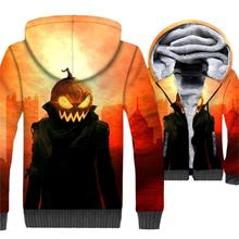 Halloween Pumpkin Jackets Men All Saints Day Sweatshirt Winter Thick Fleece Warm 3D Coat Jack-O-Lantern Hip Hop Swag Hoodie