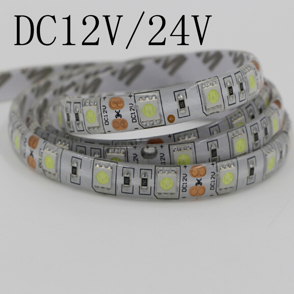 DC12V DC24V led strip 5050 SMD 5M 300led 60led/M flexible led ribbon waterproof Warm/White/RGB diode tape LED lights beiyun smd 5050 rgb led strip 5m 300led not waterproof dc 12v led light strips flexible neon tape luz white warm white rgb