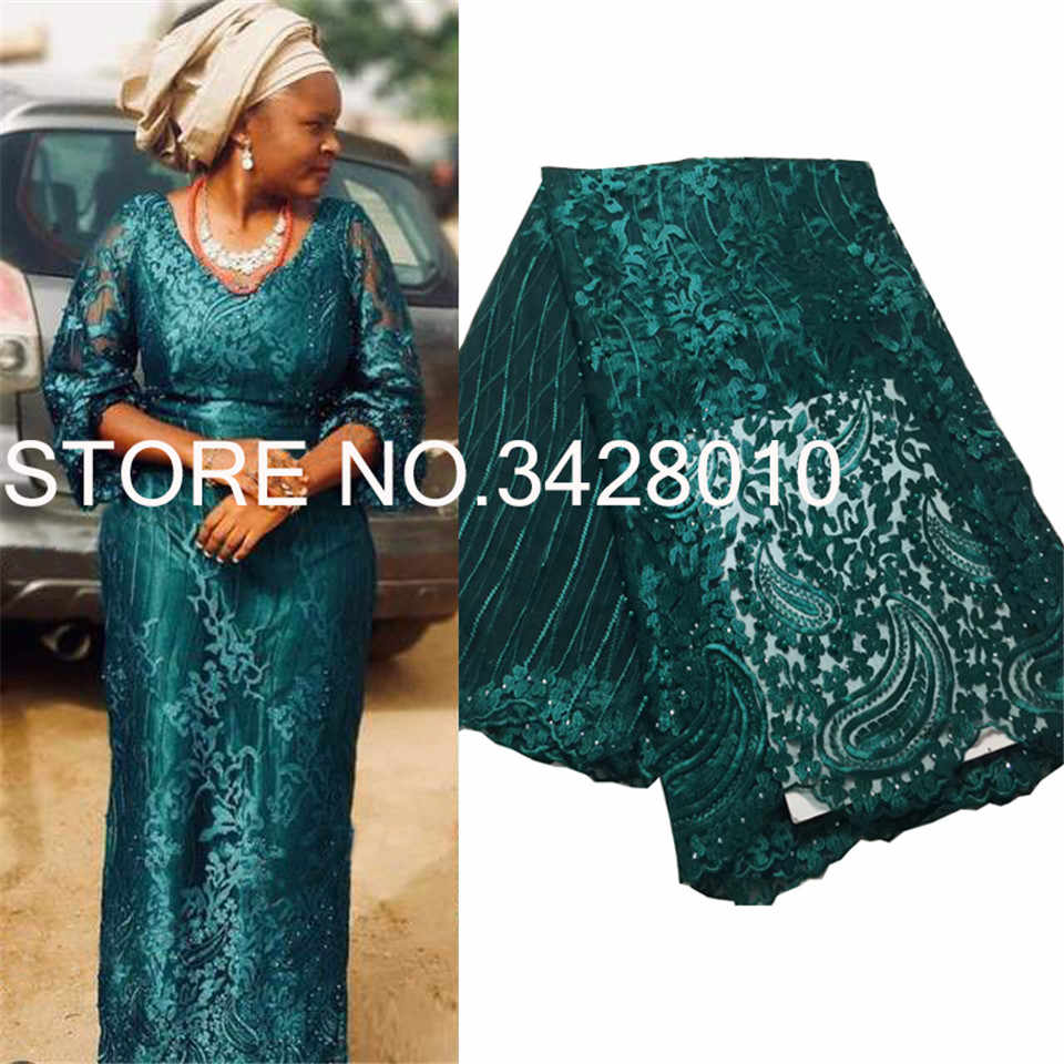 Green 2019 High Quality Nigerian Tulle Lace Fabrics Latest Beaded Mesh African Lace Fabric Bride French Net Lace Fabric M3165
