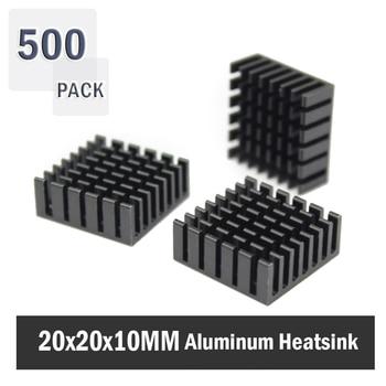 500Pcs Gdstime 20x20x10mm Anodized Black Aluminum Heatsink 20x20x10mm Electronic Chip Cooling Radiator Cooler for power IC,Elect