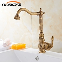 Retro Style Antique Brass Kitchen Faucet Cold And Hot Water Mixer Single Handle 360 Degree Rotation