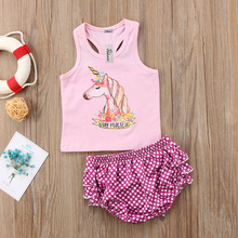 Newborn Baby Kids Girl Unicorn Outfit Clothes Babies Girls Vest Pink Top Ruffle Layered Shorts Set 2019