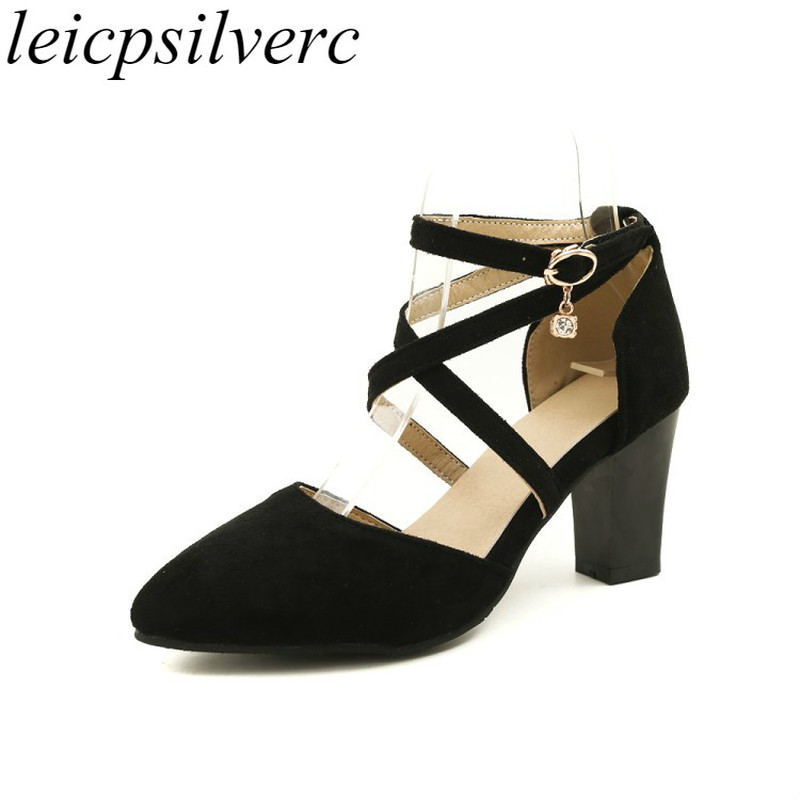 Women Pumps Shoes High Heel Flock Pointed Toe Buckle 2018 Spring Summer Sexy Fashion Sweet Casual Office Wedding Blue Red Black