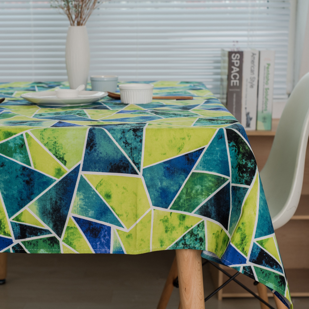 Simple Nordic Style Tablecloth Green Abstract Geometric Cotton Thickening  Tablecloth Decorative Tablecloth Dust Cover Towel