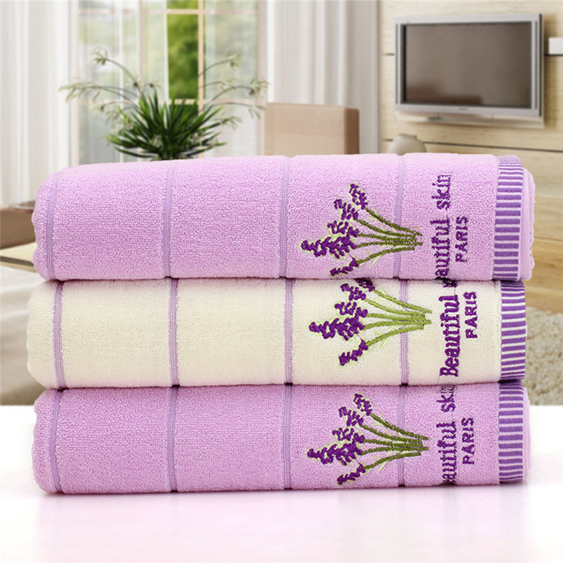 Details about  /70X140cm Embroidered Lavender Aromatherapy Bath Hand Face Towels Sheet S2H5