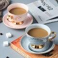 Marmor Kaffee Tasse und Untertasse Set mit Glod Griff Keramik Tee Wasser Tasse Porzellan Wiederverwendbare Latte Cappuccino Tassen 230ml