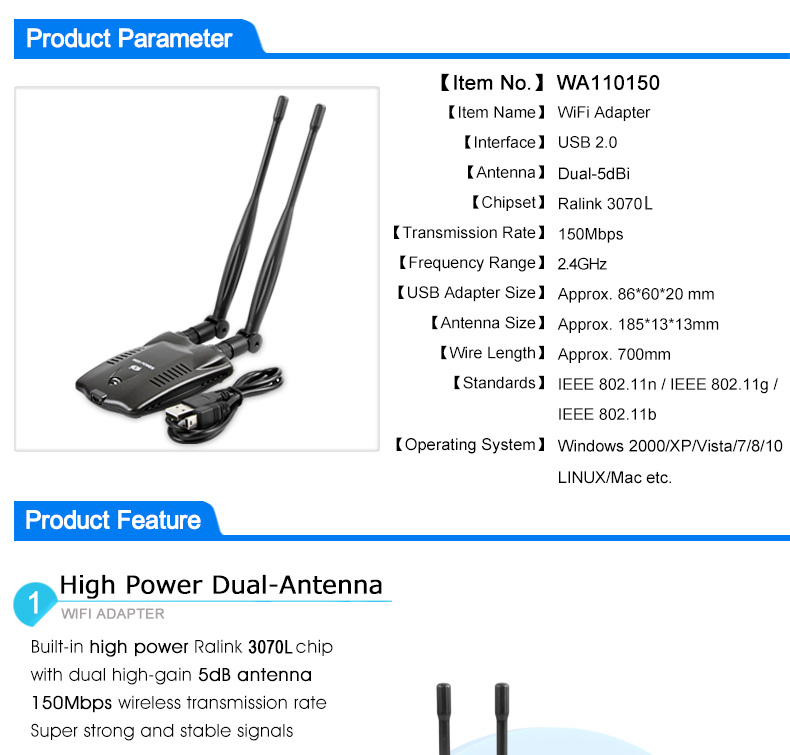 Wireless WiFi Adapter High Power Dual wifi Antenna 5dB