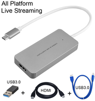 HDMI to Type C USB 3.0 1080P Game Video Capture Card Grabber Recording Live Streaming Broadcast for Macbook Mac Windows Win10