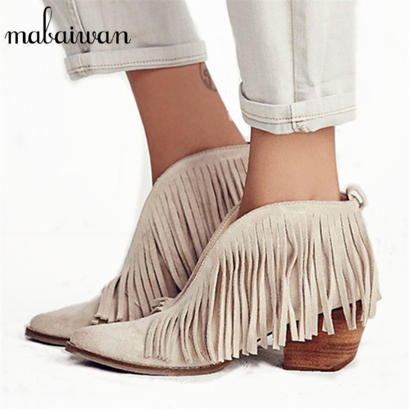 Mabaiwan Sexy Front V Open Women Pointed Toe Ankle Boots Thick High Heels Slip On Tassels Women Pumps Fringe Summer Boots mabaiwan autumn ladies ankle boots genuine leather iron strange heel bota feminina front zipper botas high heels women pumps