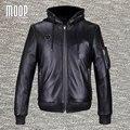 Chaquetas y abrigos de los hombres de cuero genuino negro 100% piel de cordero con capucha chaqueta de la motocicleta escudo veste cuir homm bolsillos decor LT821