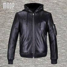 Glossy black genuine leather jackets and coats men heavyweight lambskin hooded motorcycle biker jacket veste cuir homm LT821