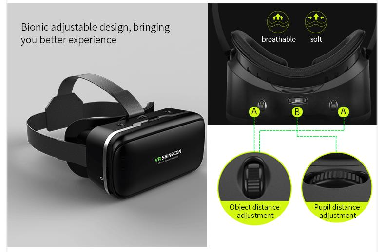Original VR shinecon 6.0 headset version virtual reality glasses 3D glasses headset helmets smart phones Full package+GamePad 10
