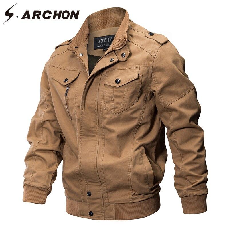 S. ARCHON осень Военная Стиль Курточка бомбер Для мужчин Air Force пилот тактические куртка теплая хлопковая ветровка армия зимняя куртка