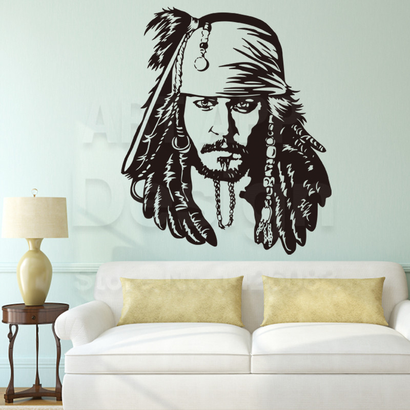 Art Design Cheap Home Decoration Vinyl Caribbean Jack Wall Sticker Removable House Decor Pirate