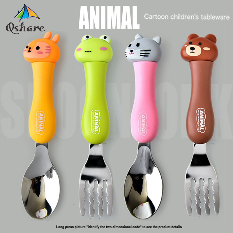 Qshare Baby Feeding Material Cartoon Cutlery Suit Student Stainless Steel Tableware Animal Fork Spoon Set Utensils Baby Eating