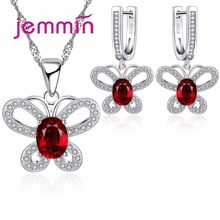 Jemmin Fine Quality 925 Silver Jewelry Sets For Women Butterfly Pendants Necklaces Earrings Set For Girls Birthday Party Gift