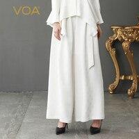 VOA тяжелый шелк однотонная белая Базовая офисная длинные брюки Для женщин свободные широкие брюки ноги плюс Размеры 5XL Повседневное Лето жа