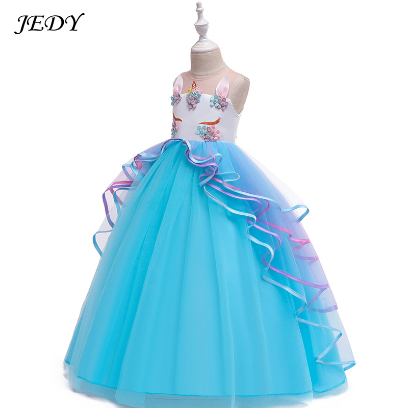 6-17 Years Old Girls Cotton Lining Voile Layered Costume Full Dress Kids Baby Children's Day Party Unicorn Dresses 2019 Summer