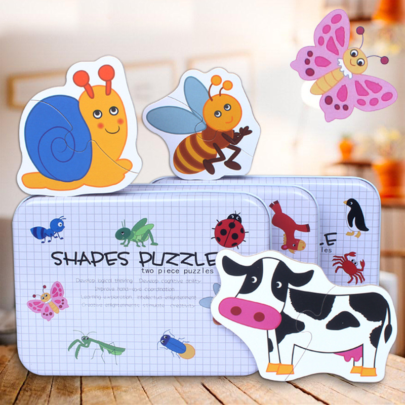 Baby Wooden Puzzle Toys Infant Early Educational Puzzle Cognitive Animal Insect Jigsaw Puzzle With Metal Box