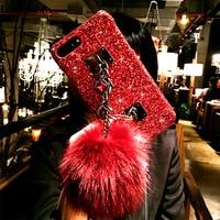 Women S Fashion Fox Plush Ball Phone Cases For Apple IPhone 6 6s 7 8 Plus