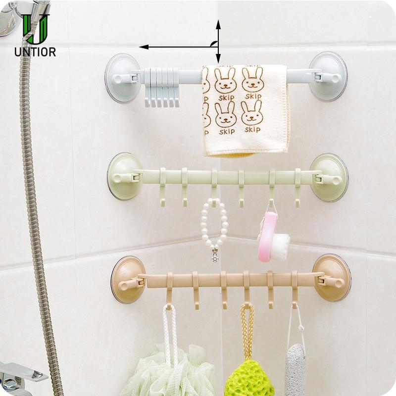 UNTIOR Wall Vacuum Rack Suction Cup 6 Hooks Towel Bathroom Kitchen Holder Plastic Sucker Hangers Hanging Hooks Tough Hook Hanger