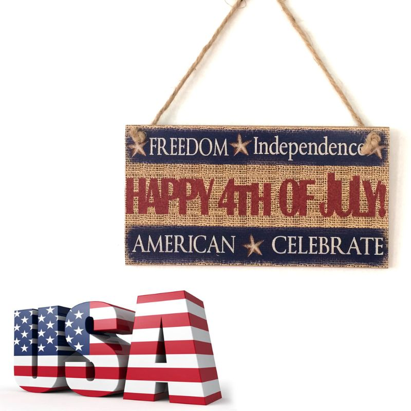 Image 5 - Rustic Wooden Hanging Plaque Sign Board American Independence Day Happy 4th Of July Room Wall Door Home Decoration Gift-in Plaques & Signs from Home & Garden
