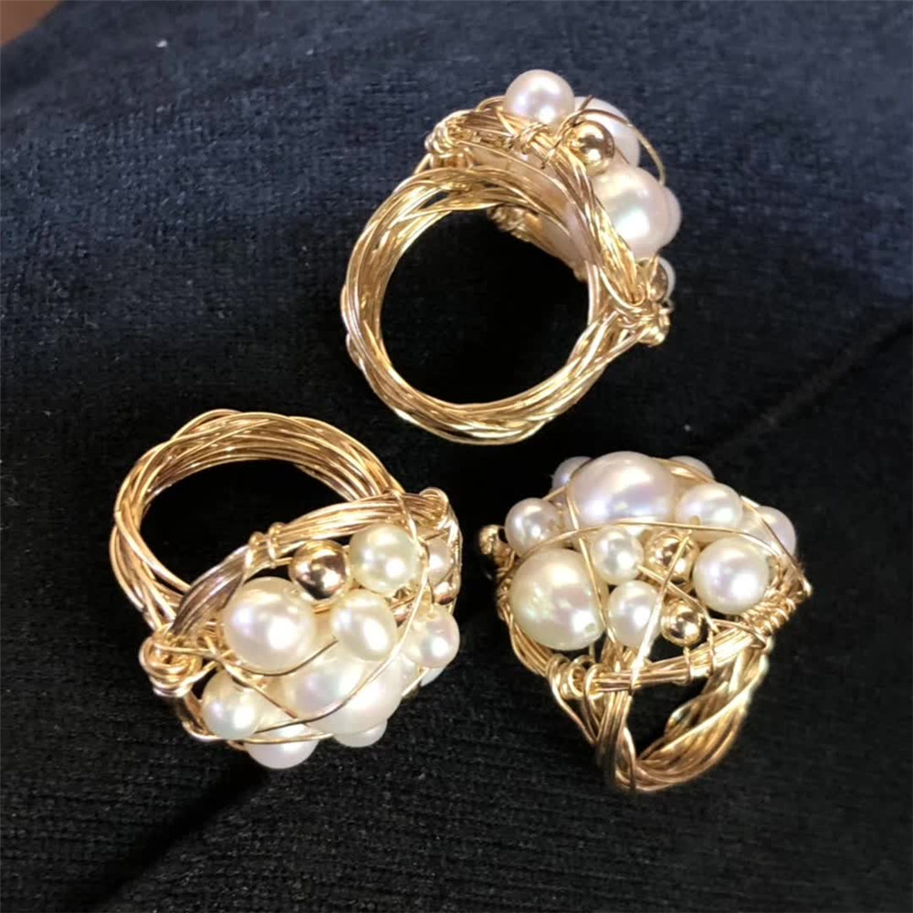 gemstone fine jewelry factory wholesale ethnic natural white pearl special cluster ring for women 2