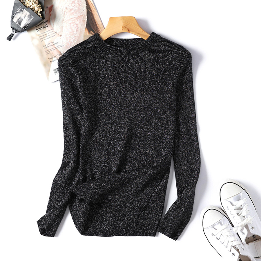Women's Sweater Spring Autumn 2019 Slim Fit Pullover Sweaters Female Korean Style Fashion Bright Silk Pullovers Thin Knit Shirt
