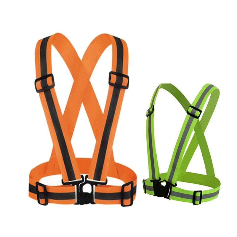 360 Degrees High Visibility Unisex Outdoor Neon Safety Vest Reflective Belt Safety Vest Fit Running Cycling Sports Outdoor Cloth