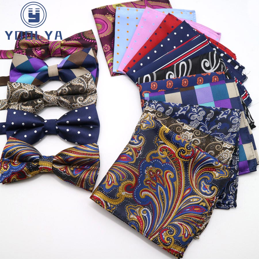 Luxury Men's Polka Dot Floral Pocket Square Bows Tie Set Adjustable Handkerchief Bowtie Sets Wedding Party Hanky Necktie Lot