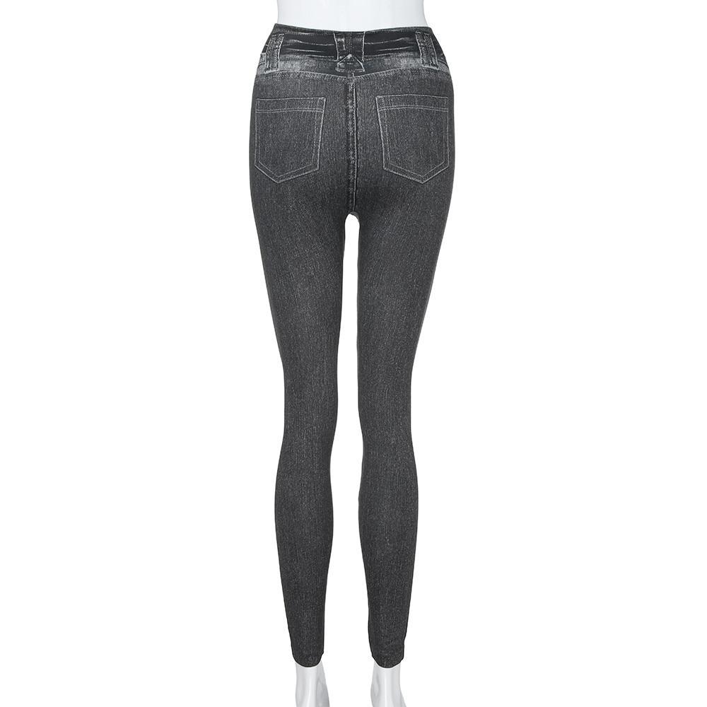 #40 Women's Leggings Casual Sexy Girls Leggings Pure Black Denim Trousers Pocket Slim Leggings Fitness Large Size Leggings Jeans