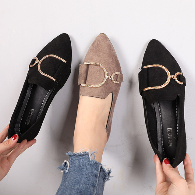 cf1e77279c 2019 Spring Metal Women Flats Pointed Toe Slip on Flat Shoes Faux Suede  Boat Shoes Woman Loafer Ladies Shoes Zapatos Mujer N6999
