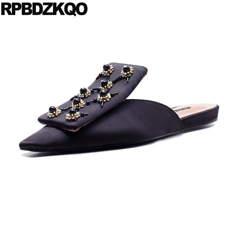 Black Designer Shoes Women Luxury 2018 Ladies Summer Closed Toe Sandals Embellished Flat Slides Spring Mules Slip On Satin Jewel все цены