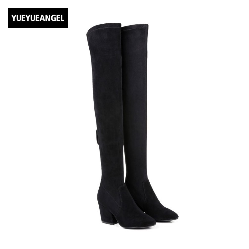 Fashion Winter Stretchy Slim Women Prom Thigh High Boots High Heel Retro Pointed Toe Knight Boots Genuine Leather Zapatos Mujer