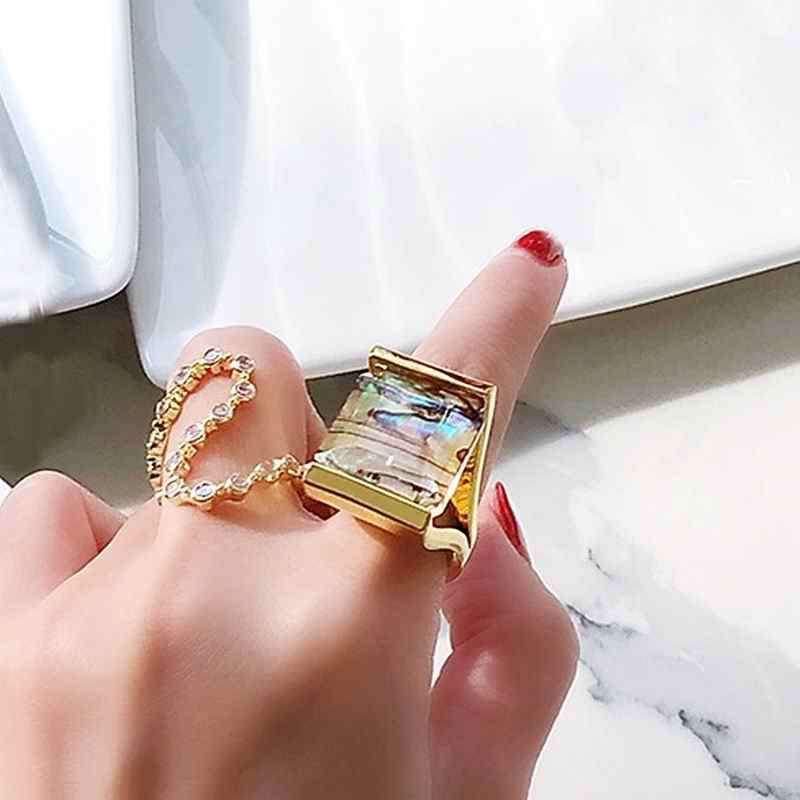 Fashion Luxury Colorful Shell Big Rings For Women Personality Geometric Square Statement Designer Ring Bijoux Top Quality Gifts