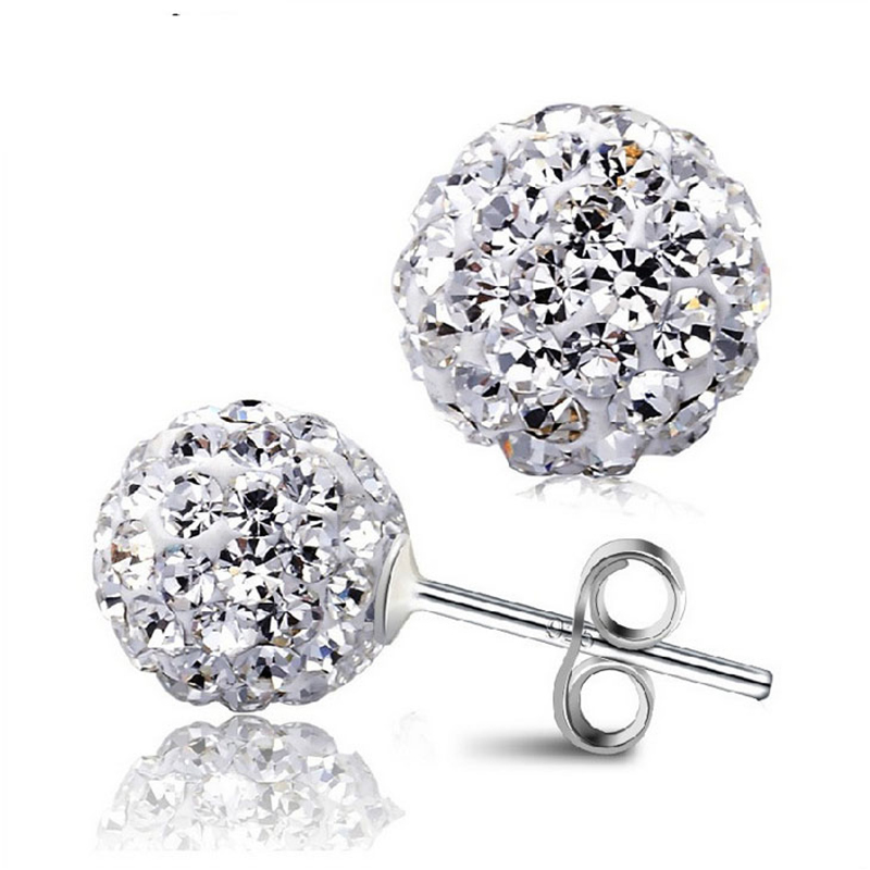 2016 New Fashion Jewelry 10 Color 8MM Shamballa Earrings Micro Disco Ball Shamballa Crystal Stud Earring For Women E1648-E1657