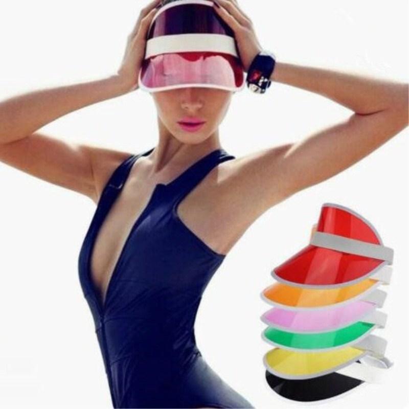 Unisex Summer Clear Plastic PVC Empty Top Hat Elastic Bands Sun Visor Hat  UV Protection Beach 5df3a7698d15