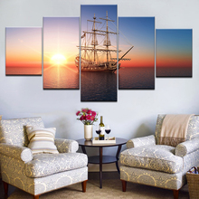 HD Print Pictures Modular Canvas Wall Art Frameless 5 Pieces Sunset Sailboat Seascape Paintings Home Decor Boat Sailing Posters