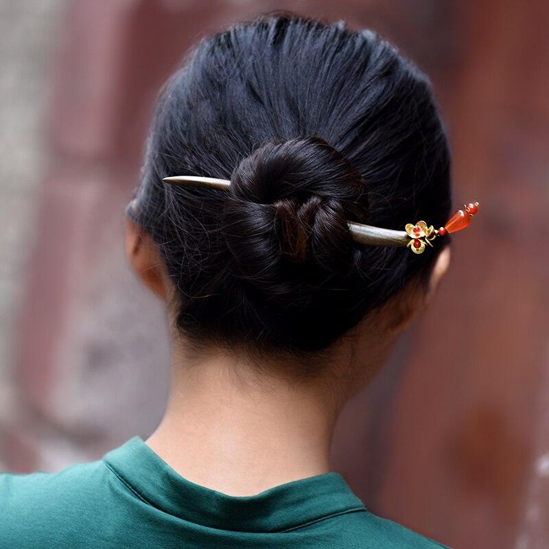 919d65aa6 ethnic hairpin for women sanders wood sticks charm copper flower red  carnelian drop vintage jewelry 2018 fashion gift