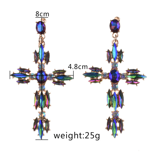 2020 ZA Luxury Crystal Cross Earrings Women Large Big Statement Baroque Earrings Indian Rhinestone Long Dangle.jpg 640x640 - 2020 ZA Luxury Crystal Cross Earrings Women Large Big Statement Baroque Earrings Indian Rhinestone Long Dangle Earrings Jewelry