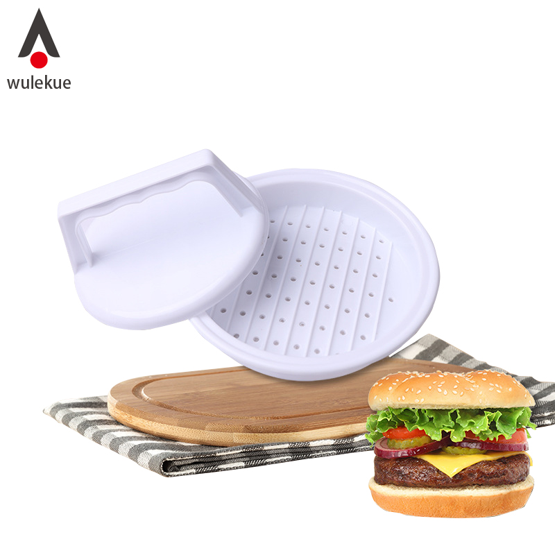 Wulekue 1 Set Plastic Round Hamburger Meat Pie Mould Manual Meat Maker Presses Pie Tool DIY Grill Cooking Kitchen Gadgets