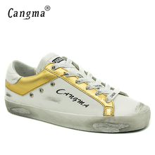 CANGMA Original Brand Retro Women Sneakers Flats Casual Gold White Shoes Genuine Leather Bass Breathable Scarpa Woman Shoes 2017