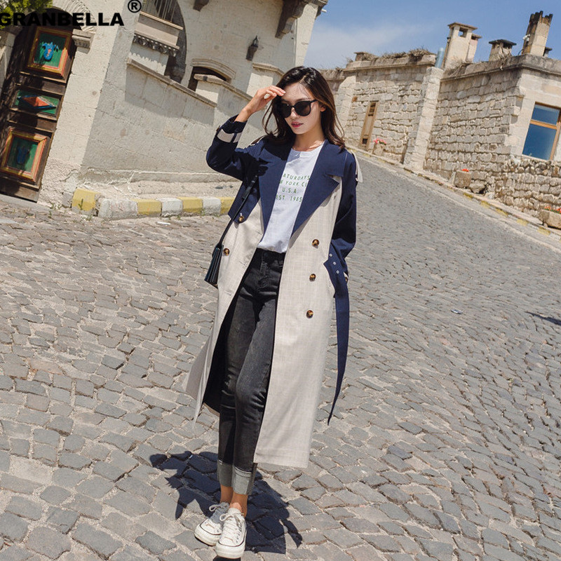New Fashion Spring Fall Plaid Patchwork women Long   trench   cloak Elegant Double breasted Ladies overcoats windbreaker