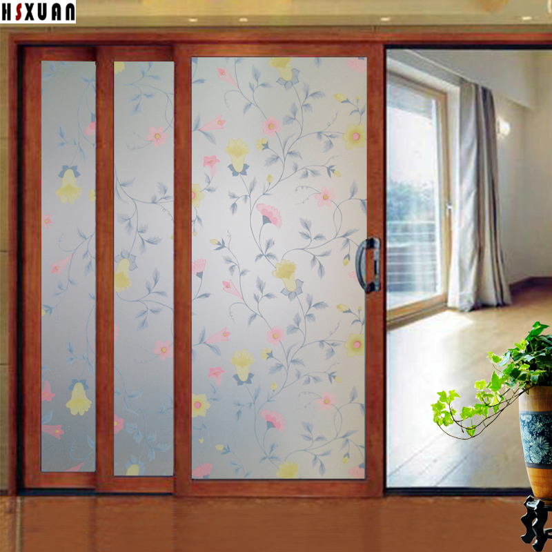 Flower Decorative Window Film 80x100cm Living Room Self Adhesive