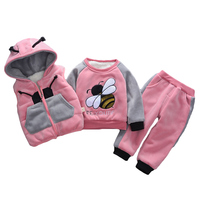 2019 winter 3pcs kids thickening hooded vest+sweater+pant sport suits baby boys girls warm cartoon set children clothing