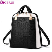 DIGERUI Fashion Women Backpack High Quality Pu Leather Backpack Patchwork Travel Leather Backpacks For Teenage Girls