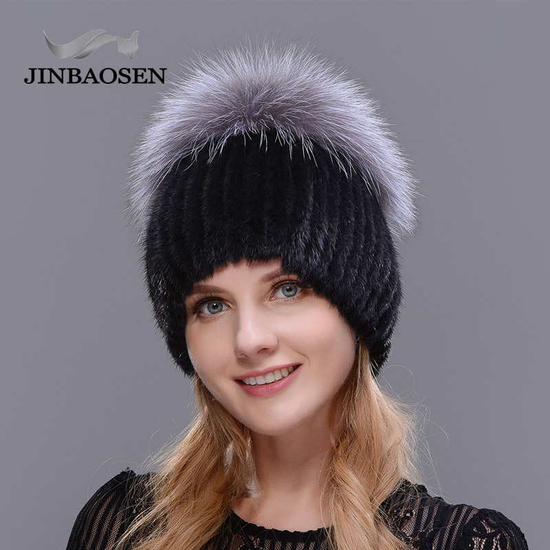 JINBAOSEN 2019 Russian Style Winter Female Fur Hat Mink Fur Plus Fox Fur Stitching Knit Liner Fur Ski Hat Free Shipping